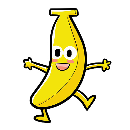 Cute and funny banana dancing and laughiing - vector.